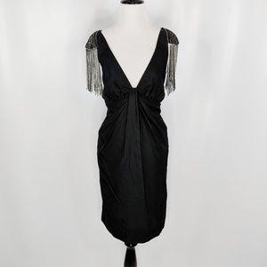 FOLEY + CORINNA black silk beaded epaulette dress